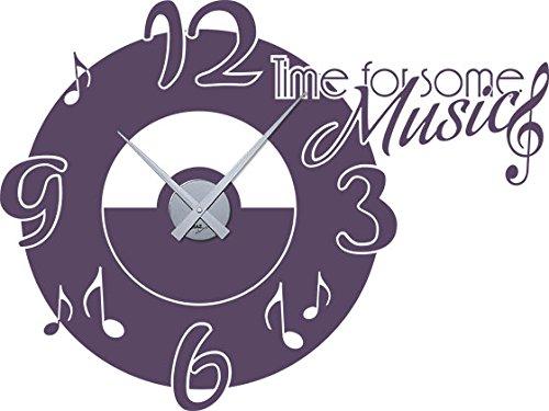 GRAZDesign muurtattoo klok met spreuk woonkamer Time for Some Music - Buitengewone wandklokken muziekschool decoratie / 800373 Uhrwerk silber 582 Bishop Purple