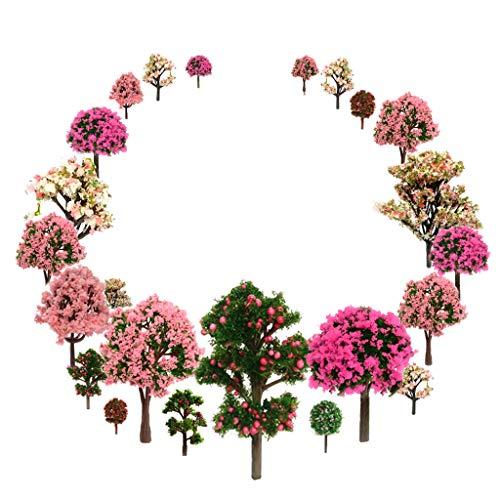 OrgMemory Mixed Bäume Modellbau, Blumen Bäume, h0 Bäume, (29pcs, 3.5-12 cm), Obstbäume mit No Stände