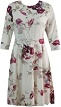 LENXH Round Neck Dress Ladies Skirt Retro Dress Floral Print Dress Seven-Point Sleeve Skirt Fashion Beach Skirt
