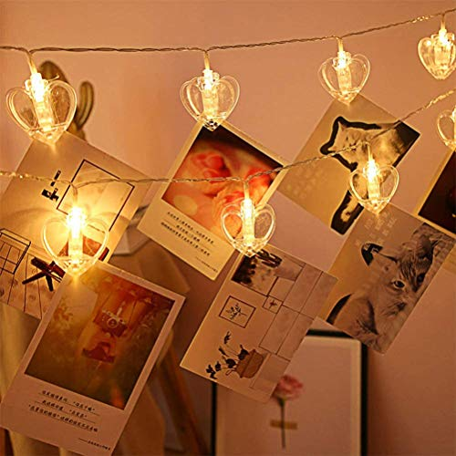 Battery Powered Photo Clip String Lights 20 Big Love Heart Clip LED Warm-White Fairy Lights for Hanging Photos Cards