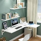 JF Mesa de escritorio plegable de esquina blanca en forma de