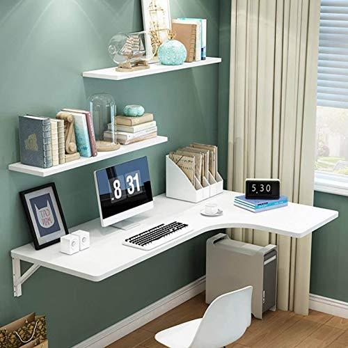 JF Vit hörnskrivbord vägg fällbart skrivbord bord L-form för små utrymmen hem och kontor dator arbetsrum skrivbord finns tillgängliga