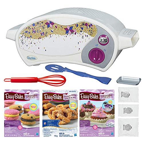 FIVE DEALS Easy Bake Oven Star Edition + Chocolate Chip and Pink Sugar Refill + Red Velvet Cupcakes Refill + Party Pretzel Refill Pack + Mini Whisk.