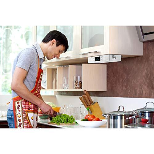 MEDION P66550 DAB+ Küchen Unterbauradio mit Bluetooth-Funktion (PLL UKW Radio, 2x3 W RM, AMS, Freisprechfunktion, LED-Display) weiß
