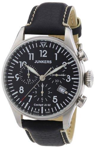 Junkers Herren-Armbanduhr XL Cockpit JU52 Chronograph Quarz Leder 61802