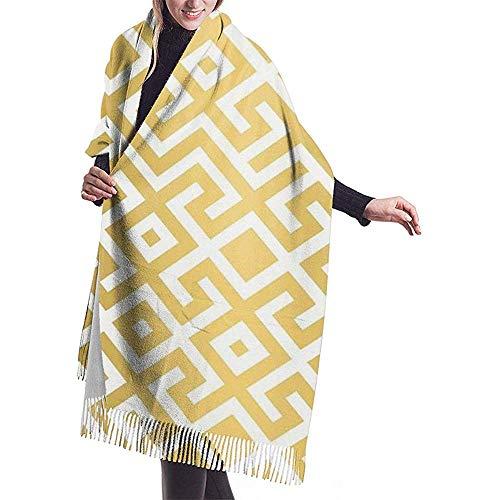Sjaal - lichte sjaal voor vrouwen, grote doeken in zachte tinten en wikkelsjaal met geometrische gouden barren, bedrukt