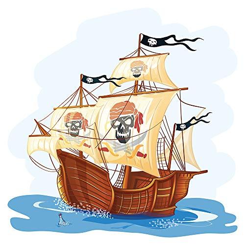 Wandtattoo Kinderzimmer Wandsticker Piratenschiff mit Totenkopf Segeln Schiff z