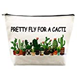 Cactus Gifts for Women Cotton Makeup Bag Succulent Plant Gifts Purse Bag Pretty Fly for A Cacti Tote Bag Birthday Gifts