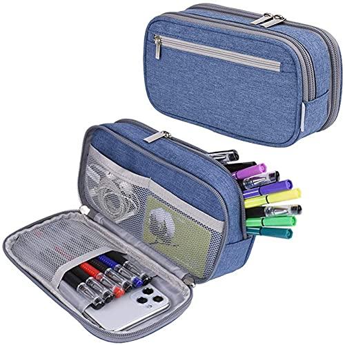 BYNYXI Estuche para lápices de gran capacidad, bolsa de mano, 3 compartimentos, almacenamiento de papelería, bolsa de cosméticos con doble cremallera, organizador escolar portátil para niños y niñas