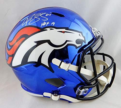 Champ Bailey Autographed Denver Broncos Full Size Speed Chrome Helmet W/HOF-JSA W Auth White