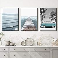 """美しいヴァン沿岸海洋波桟橋壁ポスター北欧アートキャンバスプリント自然風景画海景装飾11.8"""" x19.6""""(30x50cm)x3フレームレス"""