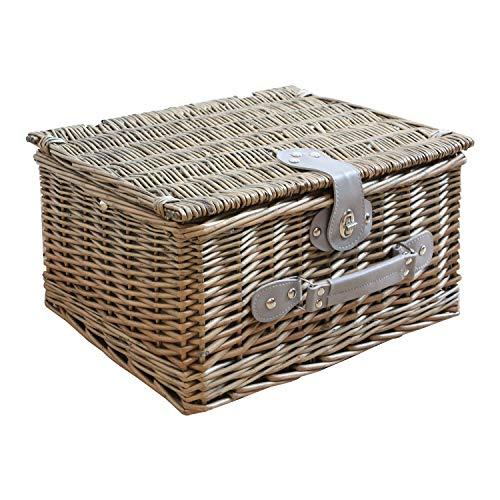 WM Homebase Aufbewahrungskorb Picknickkorb für 2 Personen aus Weide ohne Geschirr Set in Dunkelgrau 42x32x22CM