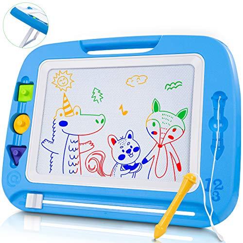 lenbest Lavagna Magnetica per Bambini, 8 Colori Grande Lavagnetta Magica Tavola da Disegno Cancellabile, Giocattoli Educativi Montessori Regalo per 3+ Anni Bambini