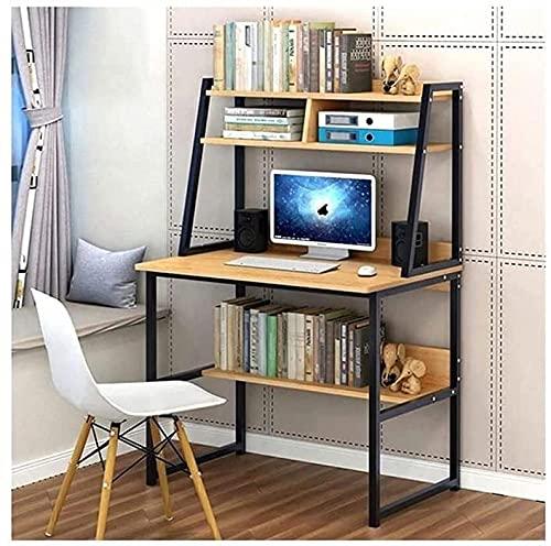 Escritorio de pie de 31 pulgadas con estante y estantería para el hogar, oficina, escritura, estudio con 3 estantes para estación de trabajo, dormitorio, computadora