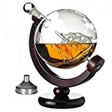 SHANGZHI Whiskey Set Whisky Karaffe Globus Dekanter Segelschiff und Weltkarte Gravur 850ml Whisky Zubehör Behälter Vatertagsgeschenke Set mit Gravierte Karte Whiskeygläser x2