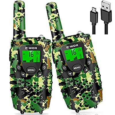 E-WOR Walkie Talkies for Kids, 2020 Christmas Boys Gift, Rechargeable Kids Walkie Talkies for Boys, 4 KM 22 Channels Toys Walkie Talkies for 3-12 Year Old Kids (Green Camouflage)