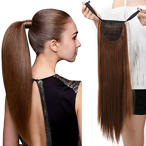 Elailite Coda di Cavallo Extension Capelli Clip in Parrucchino 55cm Wrap Around Tie Up Ponytail Hair Lisci, Marrone Chiaro