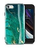 GVIEWIN Compatible con Funda de iPhone SE 2020 de mármol/Funda de iPhone 8 / Funda de iPhone 7, Funda de teléfono de Gel de Goma TPU ultradelgada, Delgada, Brillante (Verde/Oro)