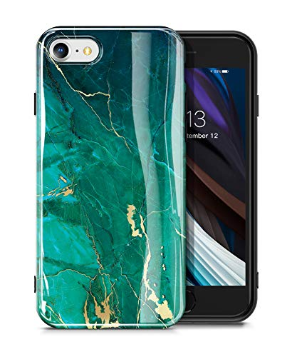 GVIEWIN iPhone SE 2020 iPhone 7 Hülle iPhone 8 hülle Marmor TPU Silikon Marmor Schlank Rundumschutz Robust Handyhülle Marble Handytasche Schutzhülle Cover Case iPhone SE2/7/8 4.7 Inch (Grün/Golden)