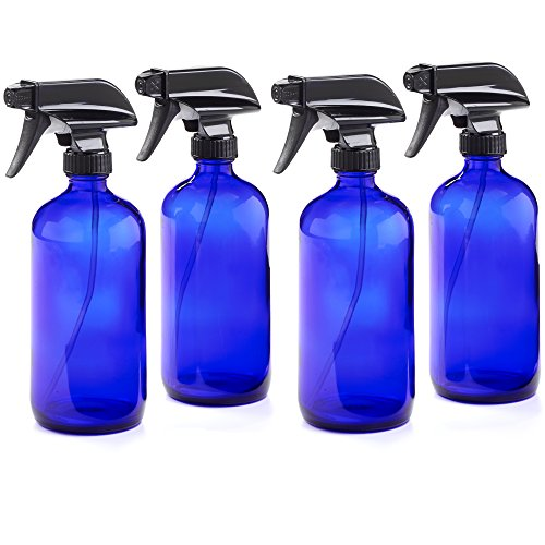 16oz Empty Cobalt Blue Glass Spray Bottles w/Labels and Caps- Mist & Stream Sprayer - BPA Free - Boston Round Heavy Duty Bottle - For Essential Oils, Cleaning, Kitchen, Hair, Perfumes (4 Pack)