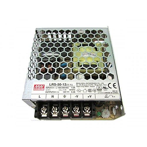 Kingled - Mean Well Netzteil 50 W 12 V, Meanwell Typ RS-50 - 12 Enclosed Switching, nicht wasserdicht IP20, Trafo AC 220 V bis DC 12 V, kompatibel mit Strip LED, Cod. 0598