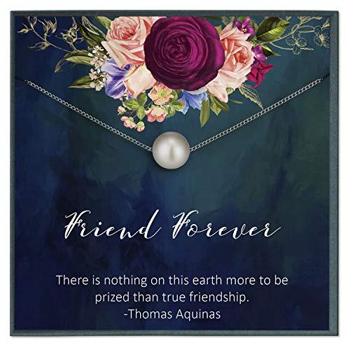 Grace of Pearl - Collar de amistad de larga distancia para mejor amigo, regalo de larga distancia para mejor amiga, amiga, amiga, para siempre
