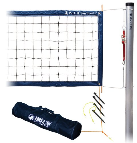Park & Sun Sports Tournament 4000: Permanent Professional Outdoor Volleyball Net System (2-Piece Poles)