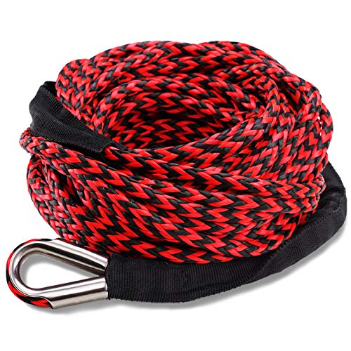 AZAMIA Synthetic Winch Rope, 1/4' x 50' 8000 LBs 12 Strands Red & Black Winch Line Cable Rope with Premium Black Protective Sleeve Universal Fits 4WD Off Road Vehicle ATV UTV SUV Motorcycle