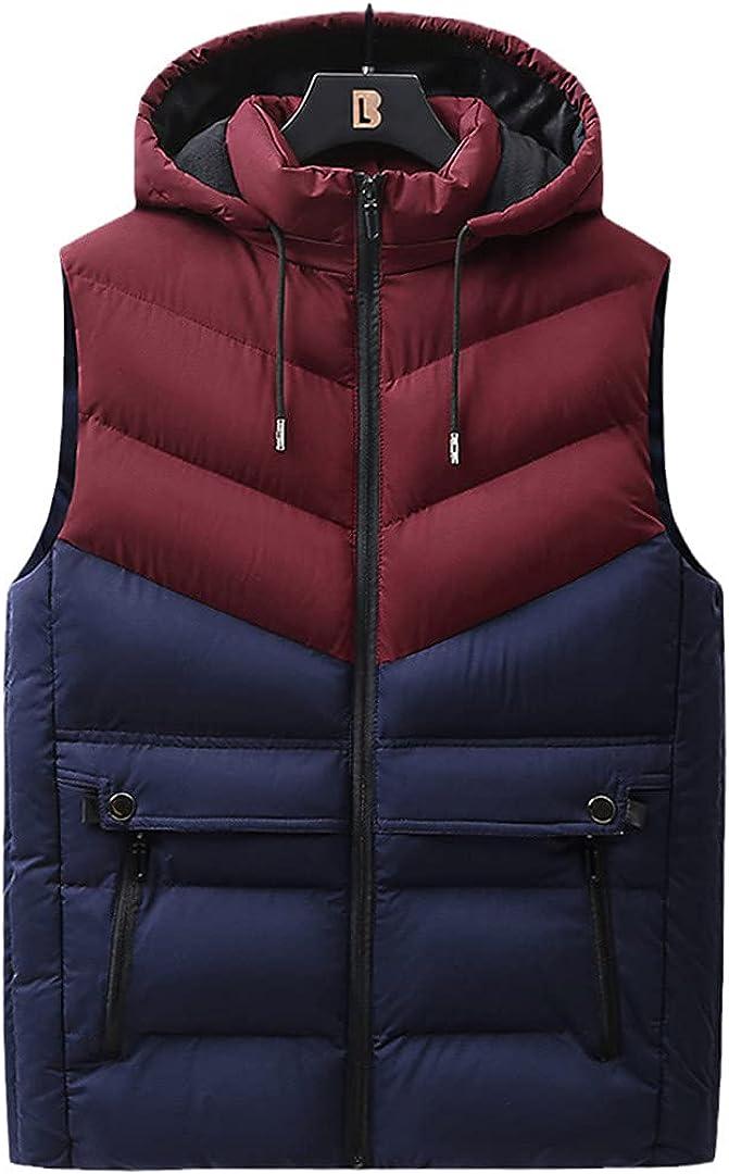 Mens Winter Outerwear Warm Hood Jacket Down Vest Sleeveless Waterproof Patchwork Jackets Parkas Vests