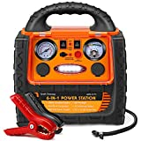 Tyrell Chenergy 1400Amp 12V Car Battery Booster Jump Starter Pack with AC/DC Outlet & Air Compressor, 400W Inverter, Portable Power Station Charger, Jumper Box For 5L Gasoline 3L Diesel Vehicles