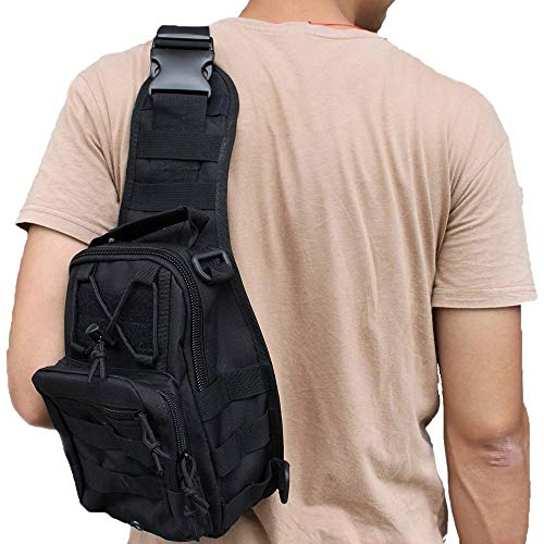 Shuweiuk Tactical Sling-Rucksack Militär Schulter Kasten EDC-Tasche für Outdoor-Sport Camp Wandern, schwarz - 8