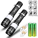Skywolfeye 2 Pack 18650 Flashlight High 1000 Lumen with 2PCS 5000mAh 3.7V Batteries and 2xUSB Charging Cable, Zoomable, 3 Modes and Water Resistant, Handheld Light With Red Light for Camping, Outdoor