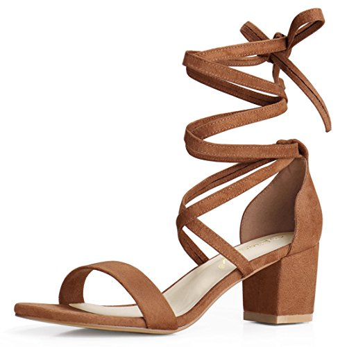 Allegra K Women's Open Toe Lace up Mid Chunky Heeled Sandals (Size US 9) Brown-Faux Suede