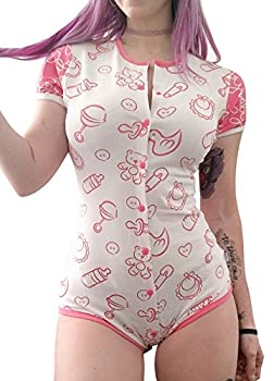 Littleforbig Adult Baby & Diaper Lover  ADBL  Snap Crotch Romper ,Pink,X-Large