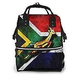 Banderas de Sudáfrica con emblema africano Springbok bolsa de pañales, impermeable, multifunción, bolsas cambiantes, bolsas de maternidad, duraderas de gran capacidad para el cuidado de viaje de mamá papá