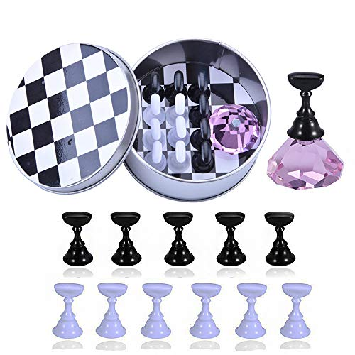 1 Set Nail Art Tips Holder Practice Display Stand, Kalolary Magnetic Stuck Crystal Nail Art Holder, Chessboard Nail Art Display Tools Set for Nail Art Salon DIY Practice Manicure (Purple)