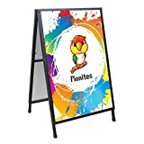 Pionites Heavy Duty Slide-in Folding A Frame Sign Sidewalk Sign 24x 36 Inch Steel Metal Double-Side Pavement Sign Corrugated Plastic Poster (24x36 inch(Portable,Frame only))