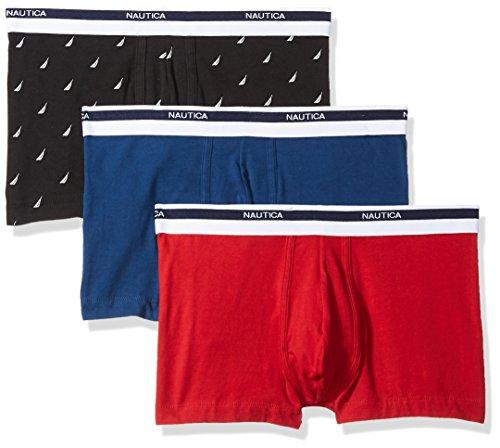 Nautica Men's Classic Underwear Cotton Stretch Trunk, Red/Estate Blue/Sail Black, Large