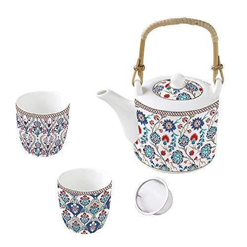 Easy Life Izni - Juego de tetera (600 ml, filtro de metal y 2 vasos de 160 ml, porcelana, incluye caja de regalo), diseño de flores