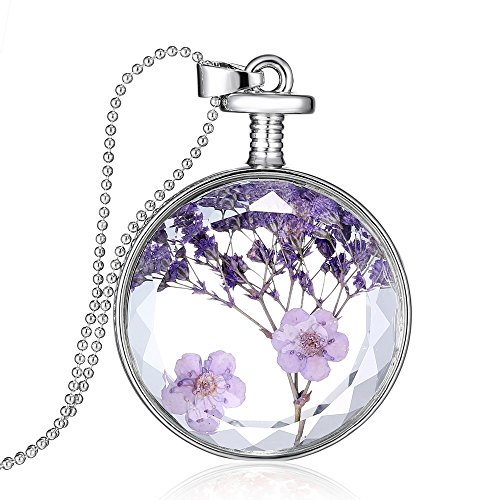 Feilok Fashion - Collana color argento a catena rotonda, con ciondolo trasparente in cristallo con lavanda essiccata, collana lunga da donna