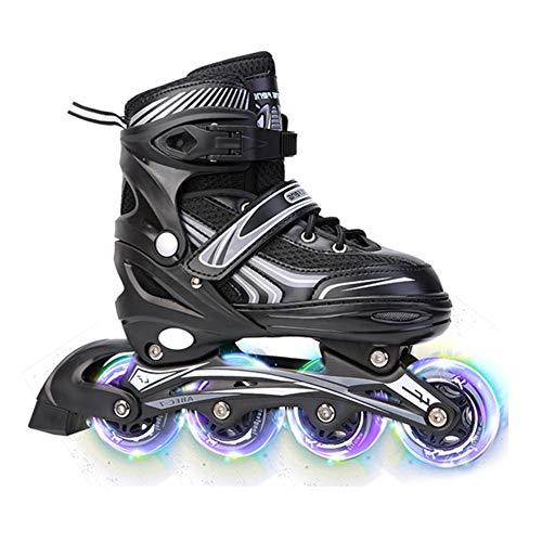 Dytxe Inline Skates Mit Carbon-Kugellager Und Beleuchtung Aller Räder Inliner Für Kinder, Jugendliche Und Erwachsene Größe Verstellbar,Schwarz,L(39~42)