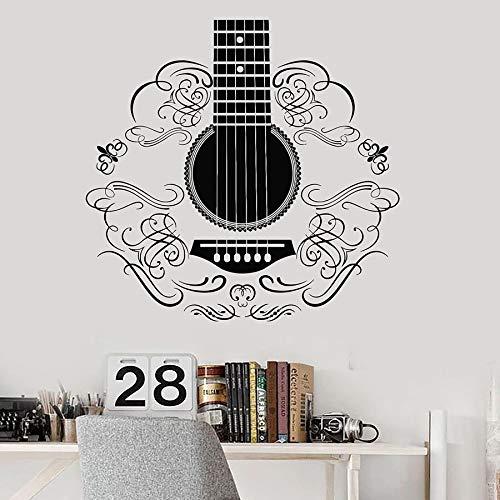 Tianpengyuanshuai Bemalte Wandtattoo Musik Gitarre Instrument Muster Vinyl Fensteraufkleber Gitarre Studio Dekoration 102x106cm