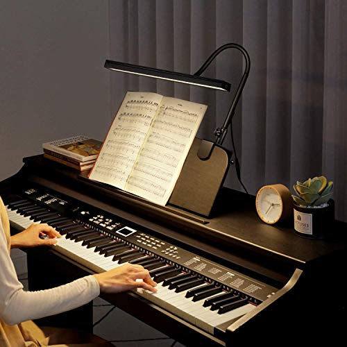 """BOLOWEI 22"""" LED Piano Lamp, 10W Professional Piano Light with Clamp - Eyes-Care, 3 Color Modes, Stepless Dimming, Great for Upright Piano, Grand Piano, Piano"""