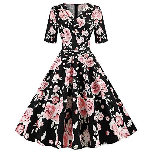 Wellwits - Vestido vintage plisado con cuello en V para mujer - Negro - 44-46