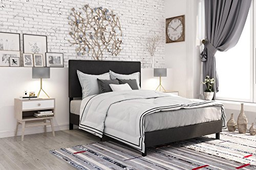 DHP Janford Upholstered Bed with Chic Design | Queen | Black Faux Leather