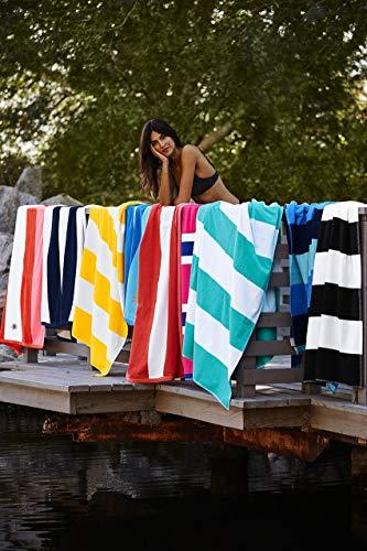 Lands' End School Uniform Rugby Stripe Beach Towel White Stripe