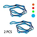 Geelife Daisy Chain Rope 2 pcs Looped Strong Straps 23 kN Climbing Lanyard Nylon Daisy Chains Multi Loop Aerial Yoga Webbing Sling 53 Inches (Blue)