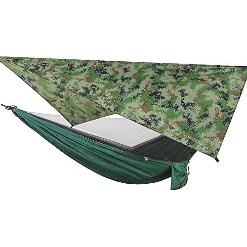 Camping Hammock with Mosquito Netting, Double & Single Travel Hammock with 2 Tree Straps and Carabiners, Portable Parachute Nylon Hammocks for Outside, Backyard, Hiking, Backpacking (Camouflage)