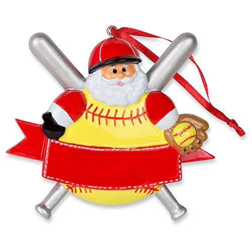 Softball Santa Resin Christmas Ornament   Softball Ornaments by ChalkTalk SPORTS