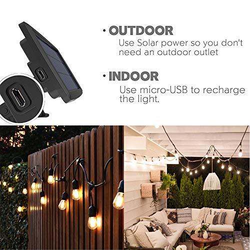 Solar String Lights, MagicPro 15 LED Light Bulbs Solar String Light Waterproof Heavy Duty Outdoor Solar Lights 44 Ft for Garden Yard Deck Warm White